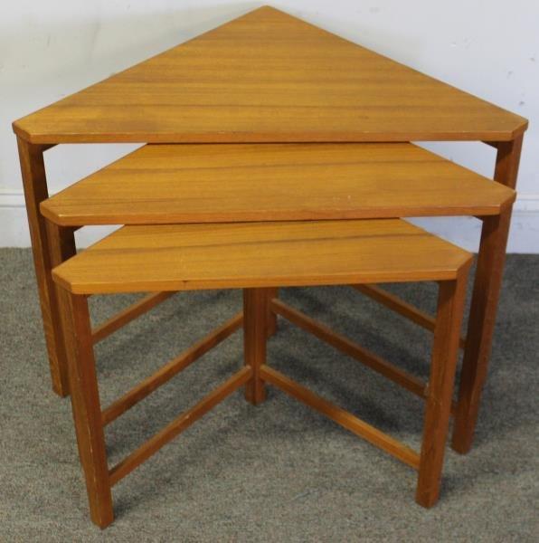 Midcentury Teak Triangle Nesting Tables.