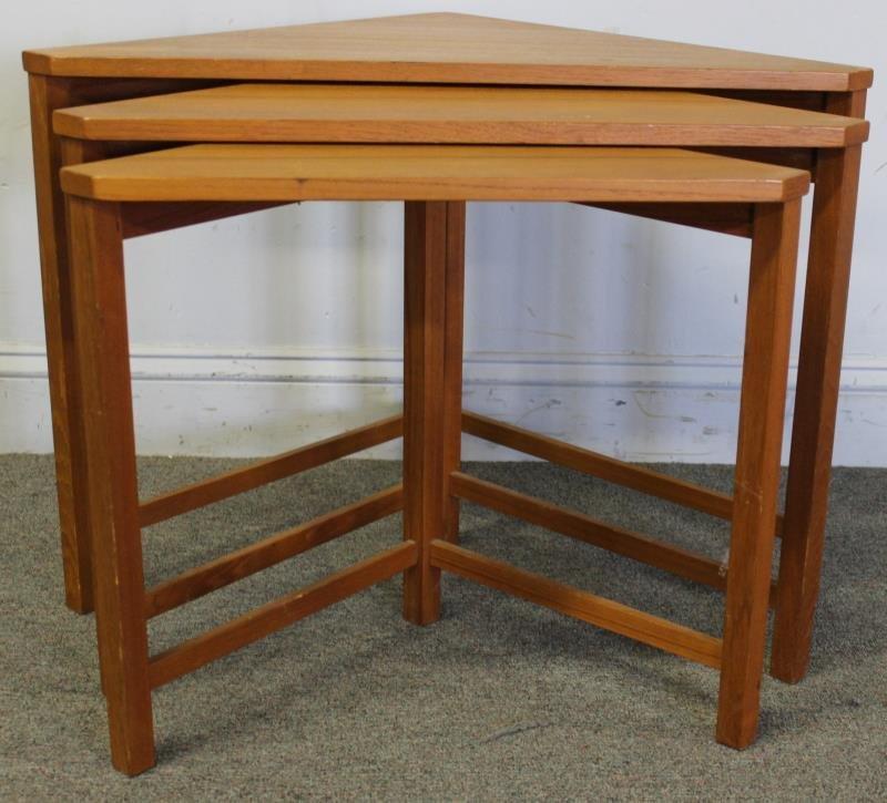 Midcentury Teak Triangle Nesting Tables. - 2