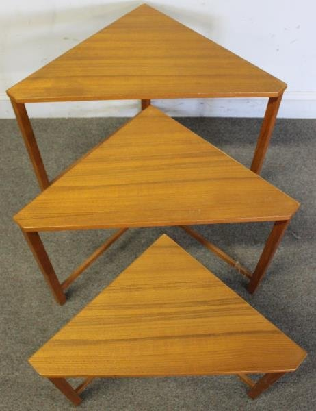 Midcentury Teak Triangle Nesting Tables. - 3
