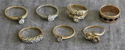 JEWELRY. Miscellaneous Group of 7 Rings.
