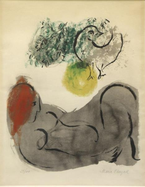 CHAGALL, Marc. Pencil Signed Color Lithograph.