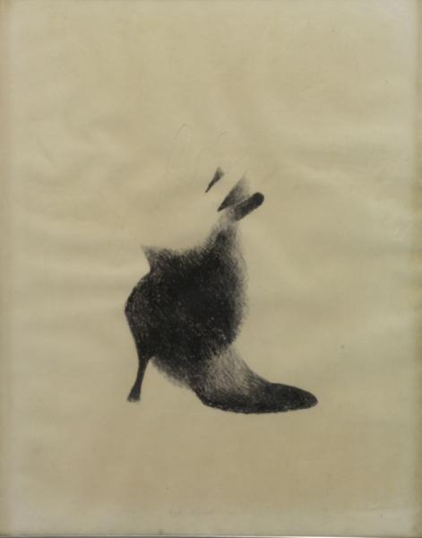 """ESCOBAR, Marisol. 1964 Lithograph """"Fur Shoe"""""""