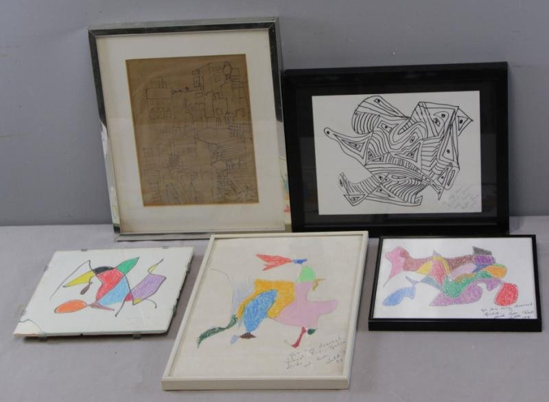 PINK, Lutka. 5 Framed Abstract Drawings.
