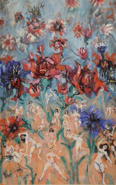 "EVERGOOD, Phillip. Oil on Canvas ""Little People's"