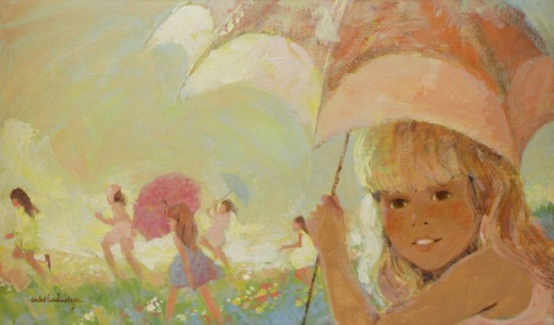 """L'ARCHEVEQUE, Andre. Oil on Canvasboard.  """"Le Jeu"""