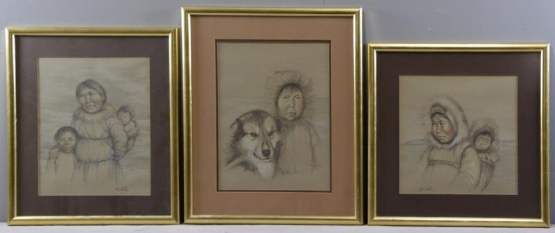 NOEH, Anna T. 3 Inuit Portrait Drawings.