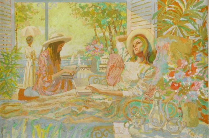 RUSSO, E. Oil on Masonite. Women Reading.
