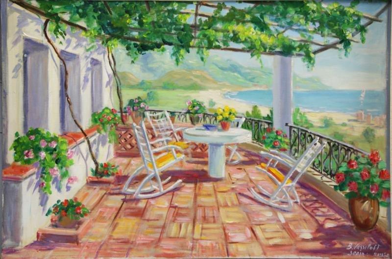 VASSILOFF, Boris. Oil on Canvas. Seaside Terrace,