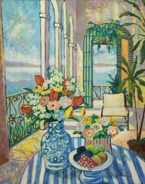 GRIMAUD, William. Oil on Canvas Interior Still