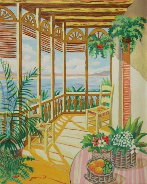 GRIMAUD, William. Oil on Canvas. Seaside Terrace.