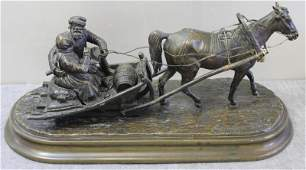 Antique Signed Russian Bronze Figural Group of a