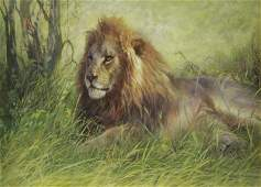 SPENCER ROBERS A Pastel and Watercolor of a Lion