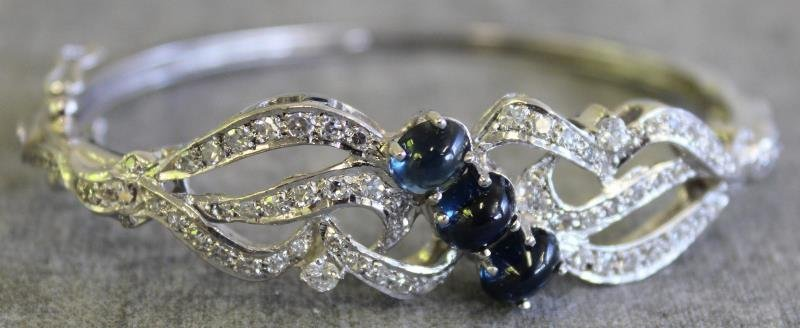 JEWELRY. 14kt White Gold, Diamond and Sapphire