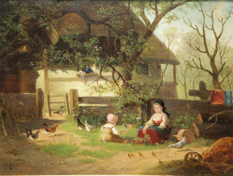 HIRTEL, R. 19th C. on Wood Panel. Two Girls Beside