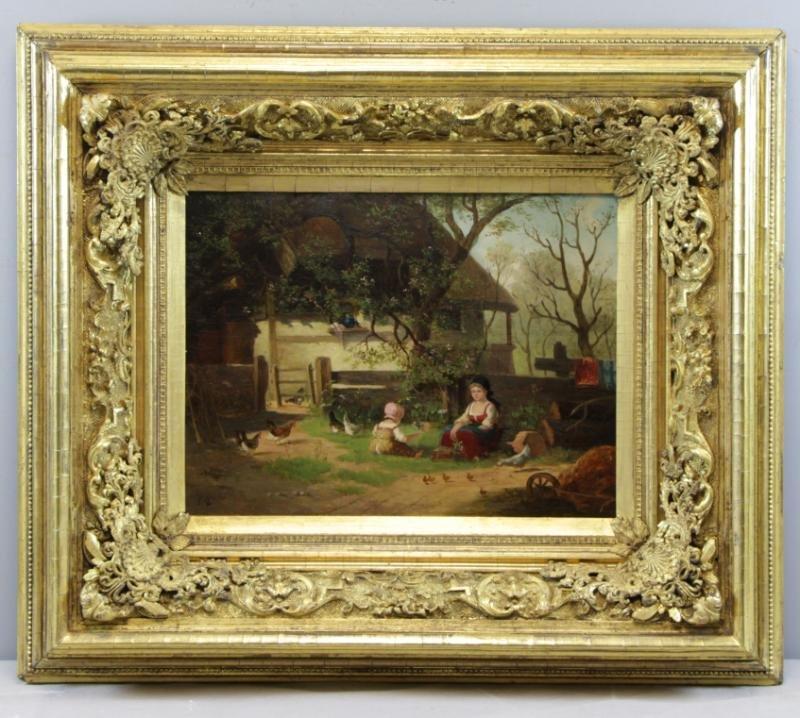 HIRTEL, R. 19th C. on Wood Panel. Two Girls Beside - 2