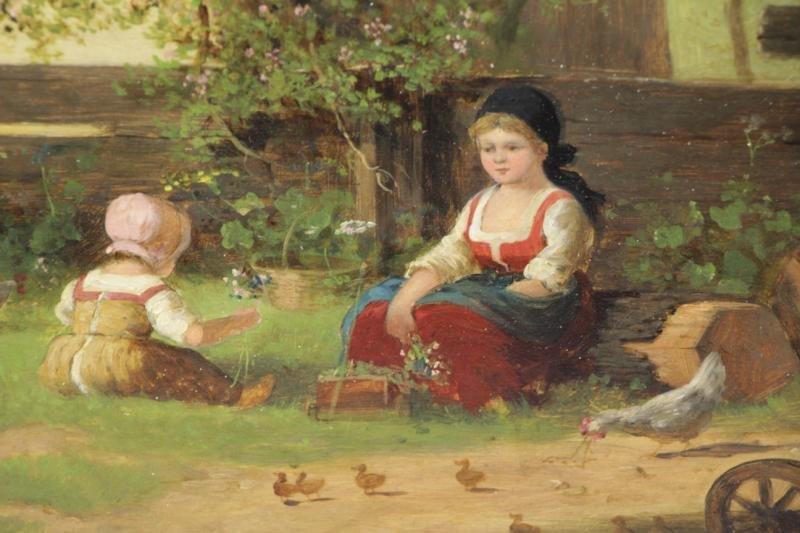 HIRTEL, R. 19th C. on Wood Panel. Two Girls Beside - 3