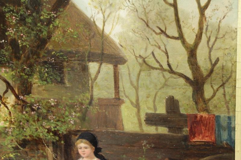 HIRTEL, R. 19th C. on Wood Panel. Two Girls Beside - 6
