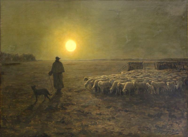 DIETERLE, Pierre-Georges. Large Oil on Canvas.