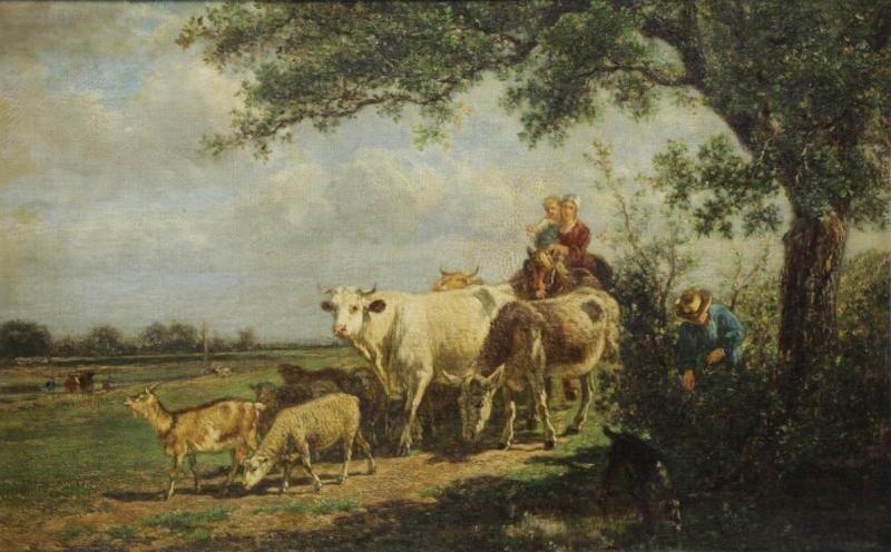 VAN MARCKE, Emile. Oil on Canvas. Figures &