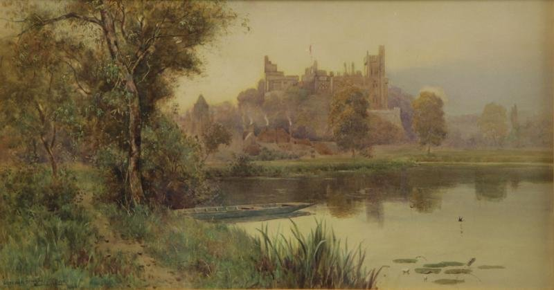 """LLOYD, Stuart W. Watercolor """"Arundel Castle""""."""