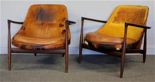 Midcentury Pair Ib Kofod Larsen Elisabeth Chairs.