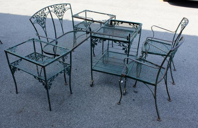 Vintage Woodard Wrought Iron Furniture Lot.