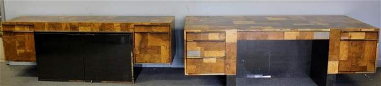 Paul Evans Patchwork Walnut And Metal Desk