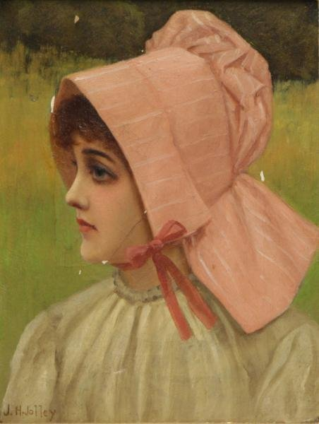 JOLLEY, J. H. Oil on Canvas of a Girl in a Bonnet.