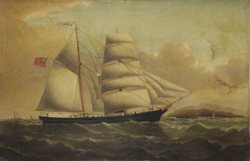 19th C. Oil on Canvas of an English Clipper Ship.