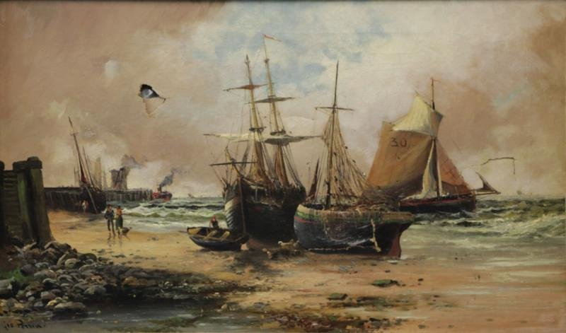 PERRIN, George. Oil on Canvas. Ships at Shore.