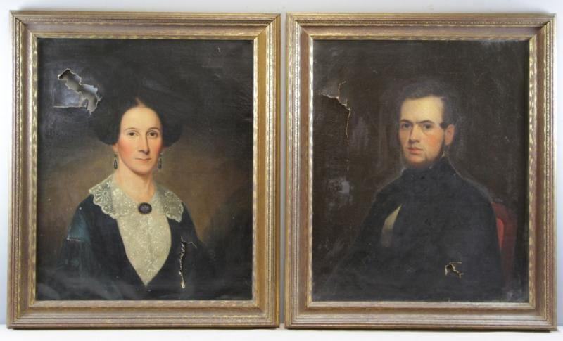 Pair of 19th C. Oil on Canvas Portraits.