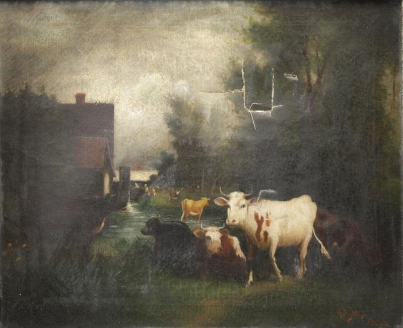 JONES, Hugh Bolton. Oil on Canvas. Cows Grazing.