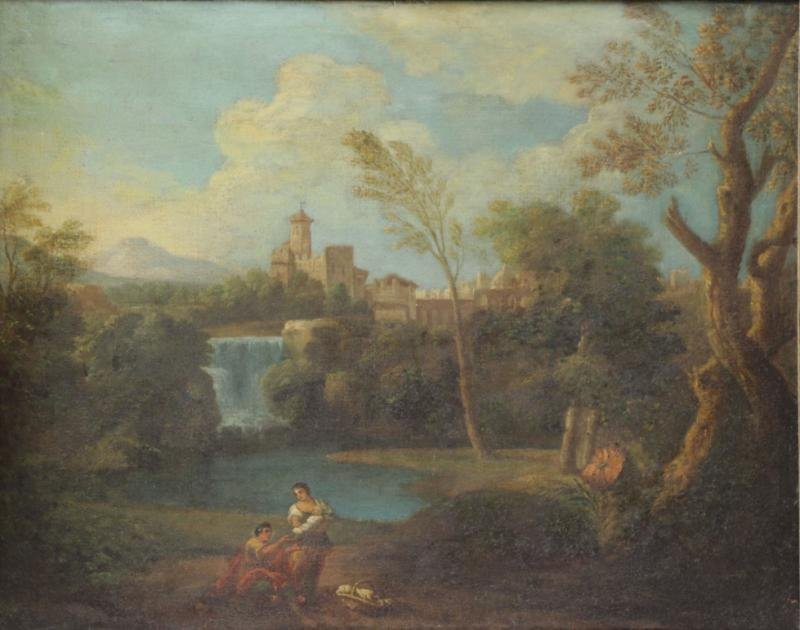 Old Master Oil on Canvas Italian Landscape with