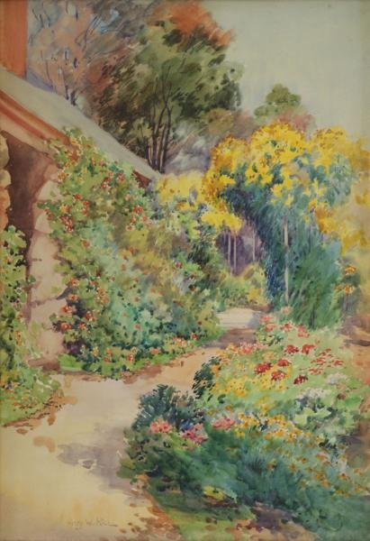 RICE, Henry. Watercolor on Paper. Garden Pathway.