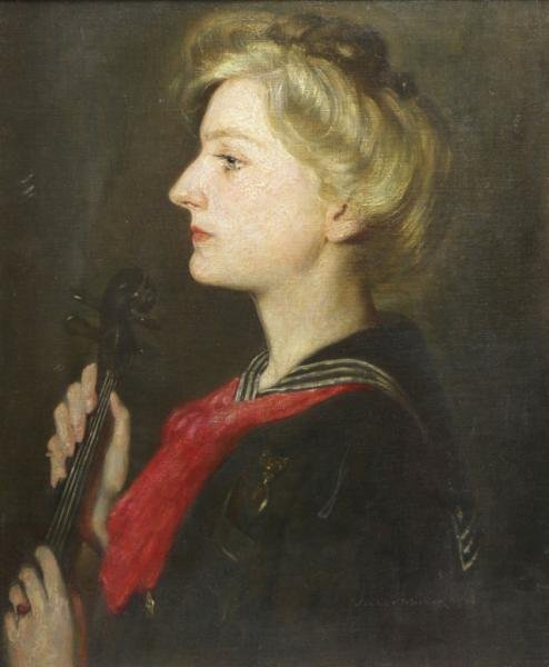 MILLER, Violet. 1906 Oil on Canvas Portrait of a
