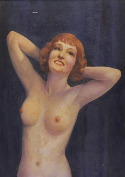 DE GROOT, Adriaan Martin. Oil on Canvas of a Nude.