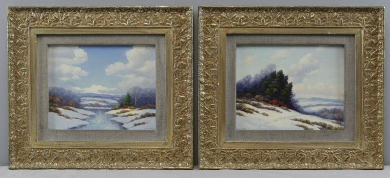DIXON, Francis. Pair of Oil on Board Winter