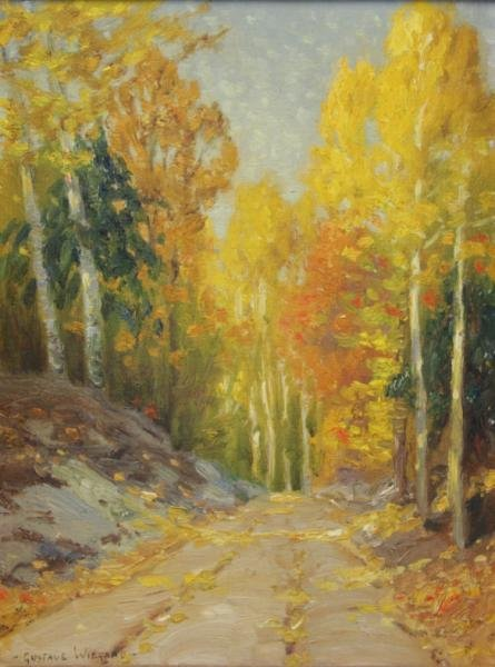 WIEGAND, Gustave. Oil on Board. Autumn Path.