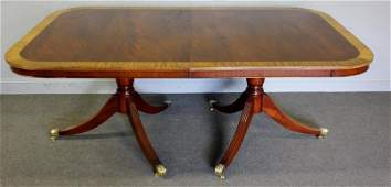 Twin Pedestal Mahogany Banded Dining Table With