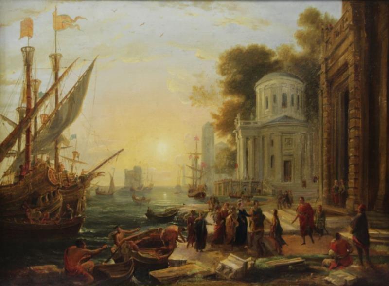 Old Master Oil on Canvas Italian Harbor Scene.