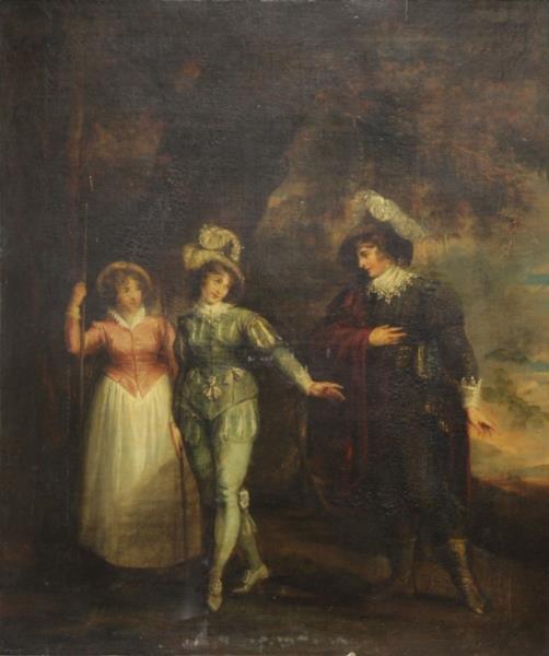 DE WILDE, Samuel. Oil on Canvas. Three Figures in