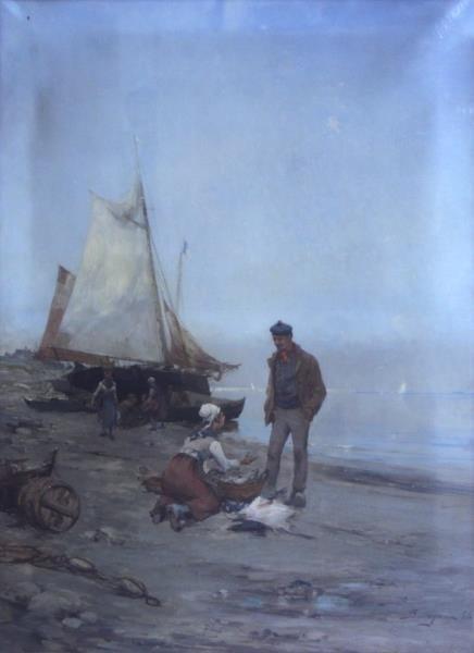 BISTAGNE, Paul. Large Oil on Canvas. Fishermen &