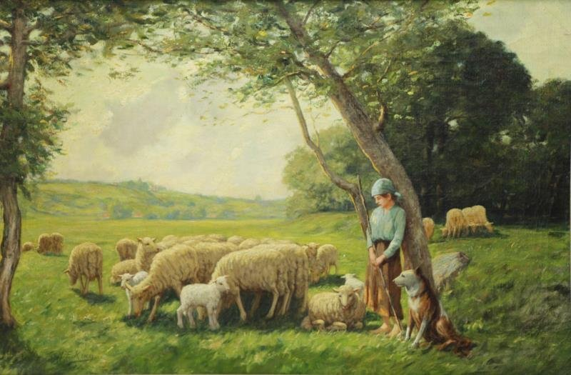 KING, M.E. Oil on Canvas. Shepherdess with Dog and
