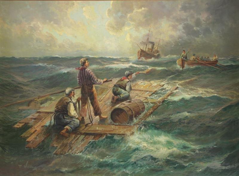 WOLDEGG, F. Oil on Canvas. Rescue at Sea.