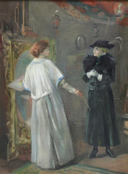 "LEVY, Alexander. Oil on Canvas. ""The Caller""."