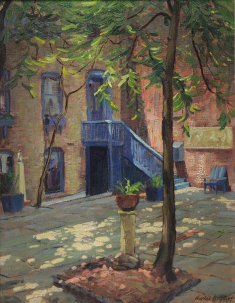 BREWER, Adrien. Oil on Canvas. Street Scene.