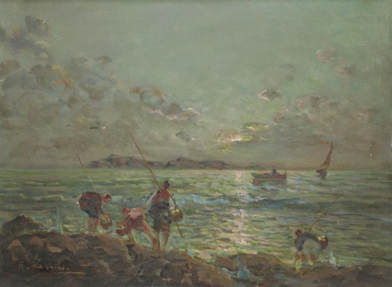VANNINI, R. Oil on Canvas. Fishermen on the Shore.