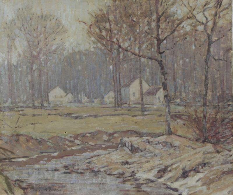 Signed Early 20th C. Oil on Canvas. Winter