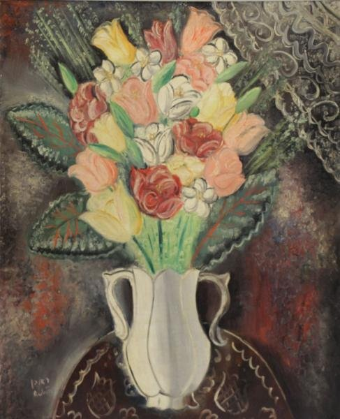 RUBIN, Reuven. Oil on Canvas. Flowers in a White