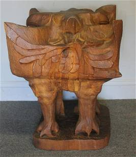 BASKIN, Leonard. Large Carved Wood 4 Sided Eagle.